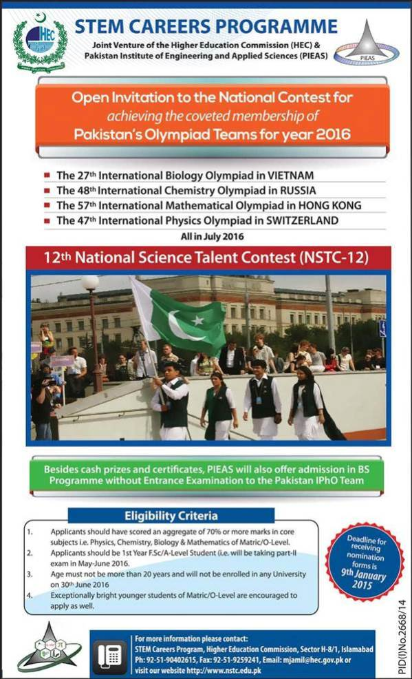 STEM Career Program 2015 Join Pakistan Olympiad Team Online Registration Eligibility Criteria Last Date