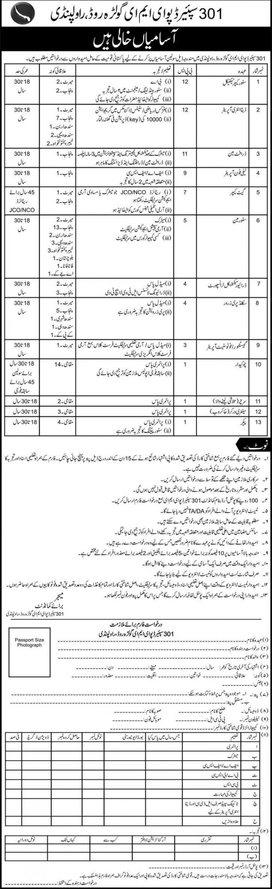 Spare Depo 301 EME Rawalpindi Jobs 2015 Application Form Eligibility Criteria Dates