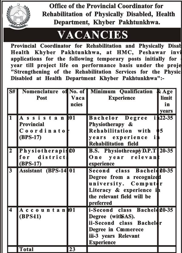 HMC, Peshawar Jobs 2021 NTS Test Answer Key Result Rehabilitation Services for Physically Disabled Health Office