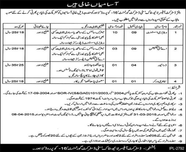 Govt Jobs 2015 Lahore City District Livestock Veterinary Assistant Application Form