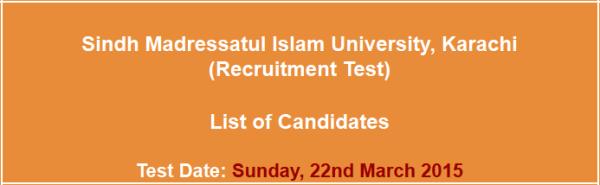 Sindh Madressatul Islam University Karachi Jobs NTS Test Result 2021 Answer Key