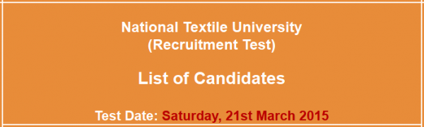 National Textile University NTU Jobs NTS Test Result 2015 Answer Key