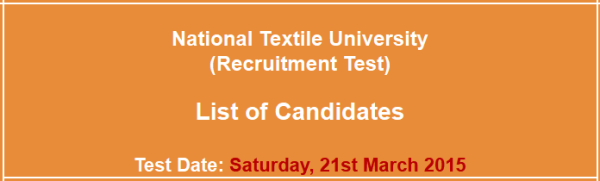 National Textile University NTU Jobs NTS Test Result 2015 Answer Key