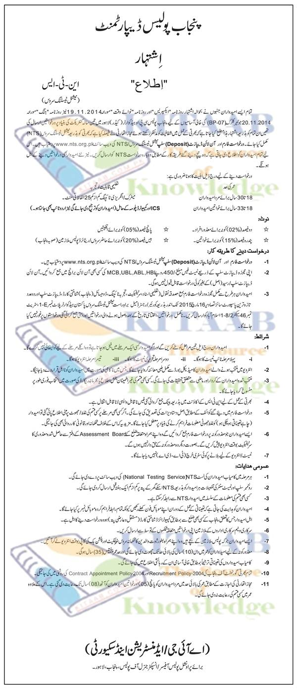 Punjab Police Jobs 2015 NTS Test PHASE I-II Post of Junior Clerk BPS-7 Application Form Written-Physical-Typing Test