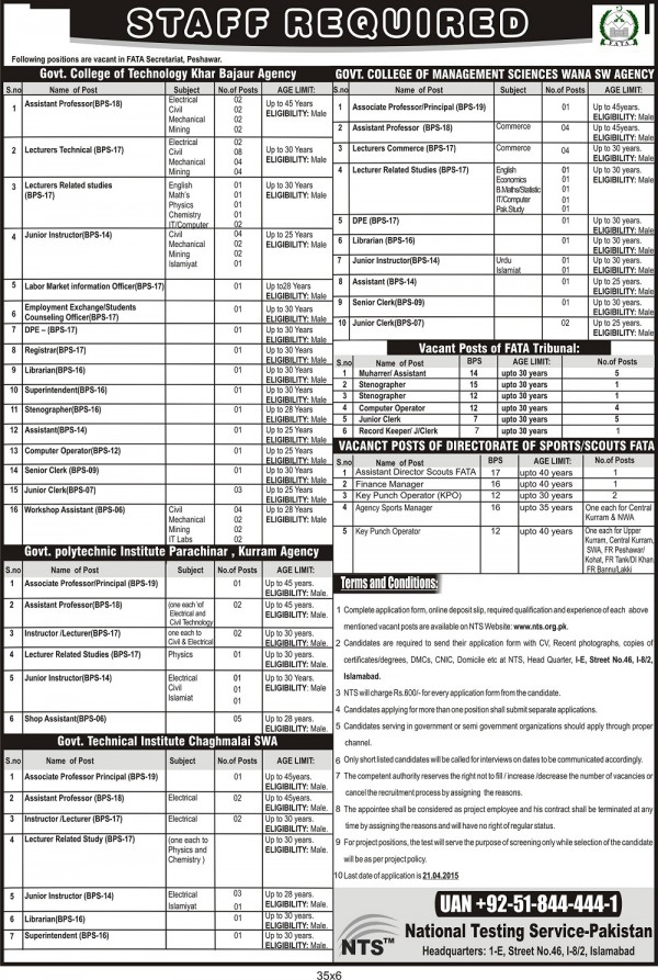 Institute & Colleges Jobs 2015 NTS Test FATA Secretariat Peshawar Form Download