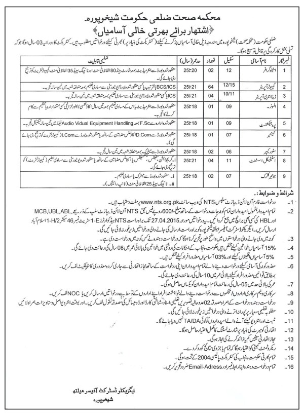 Govt Health Department District Sheikhupura NTS Test Application Form Eligibility Dates