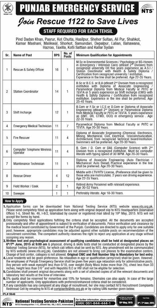 NTS Rescue 1122 Jobs 2015 Application Form Test Dates Roll No Slips Download