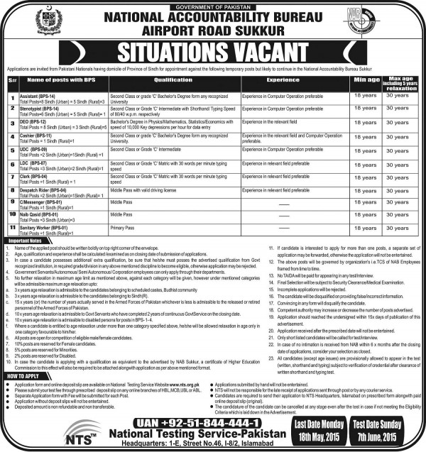 National Accountability Bureau NAB Sukkur Jobs 2015 NTS Test Dates Selected Candidates List Form Eligibility