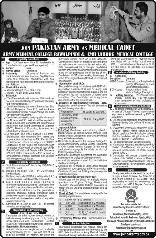 Join Pak Army As A Medical Cadet Jobs 2015 Application Form Written Test Interview Date Centers Eligibility