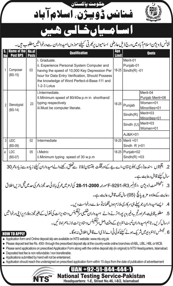 Government of Pakistan Finance Division Islamabad NTS Test Result Answer Key Jobs 2015