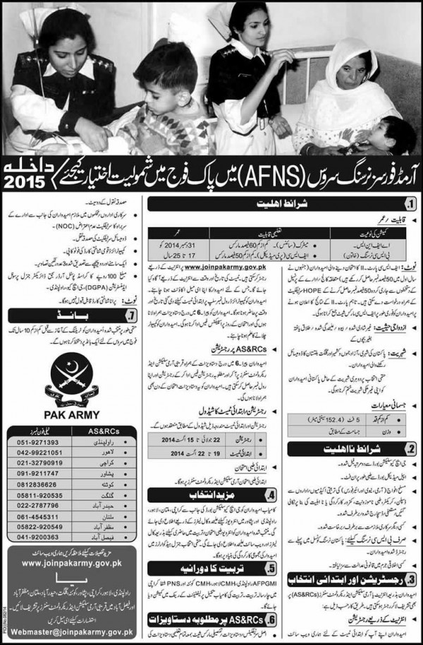 Join Pak Armed Forces Nursing Service AFNS Jobs 2015 Written Test, Interviews Dates and Schedule