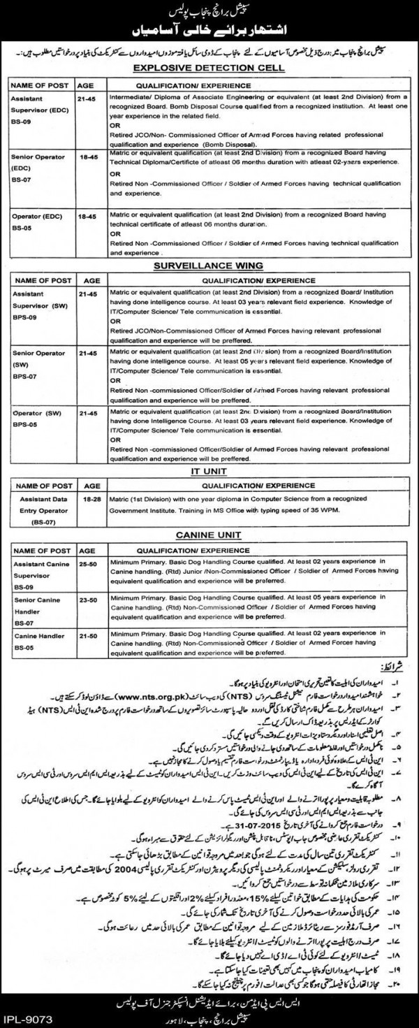 Punjab Police Special Branch Jobs 2015 NTS Application Form Test Dates and Schedule Eligibility