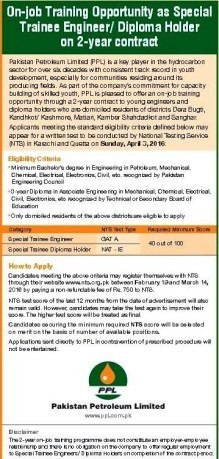 Pakistan Petroleum Limited PPL Jobs 2016 NTS Registration Form Eligibility Criteria How to Apply Requirements