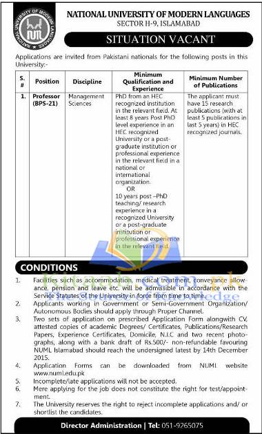 National University of Modern Languages NUML Islamabad Jobs 2015 Eligibility Criteria Application Form