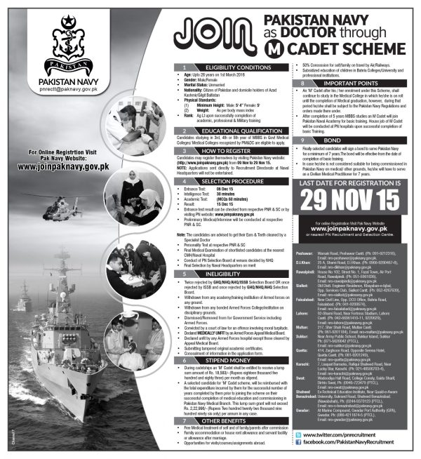 Join Pakistan Navy Through M Cadet Scheme 2017 Online Registration Eligibility Conditions & How To Apply