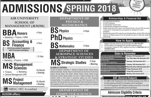 Air University Admission 2018 NTS Entry Test Dates and Schedule Result Answer Key