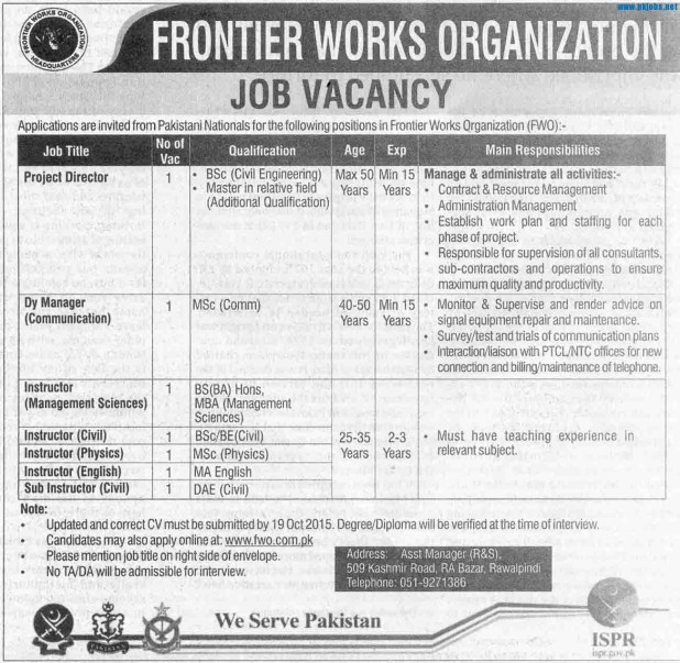 Frontier Works Organization FWO Rawalpindi Jobs 2015 Registration Form Last Date and Test Interview