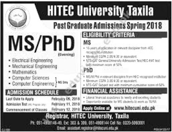 HITEC University Taxila Admission 2019 in BS and MS Programs Schedule