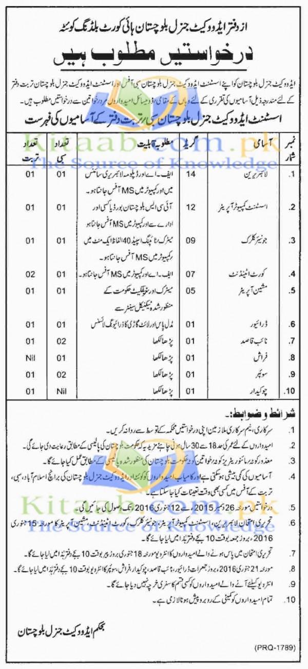 Balochistan High Court Building Quetta Jobs December 2015-16 Test Interview Dates Application Form Eligibility