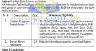 Azad Jammu and Kashmir Information Technology Board Jobs December 2021-16 Form Download Eligibility Criteria Dates