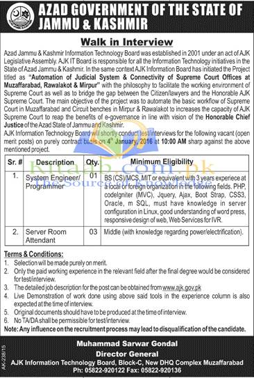 Azad Jammu and Kashmir Information Technology Board Jobs December 2015-16 Form Download Eligibility Criteria Dates