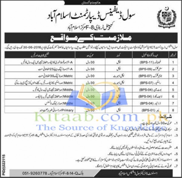 Govt of Pakistan Civil Defence Department Islamabad Jobs December 2015-16 Eligibility Form Test Interview Dates