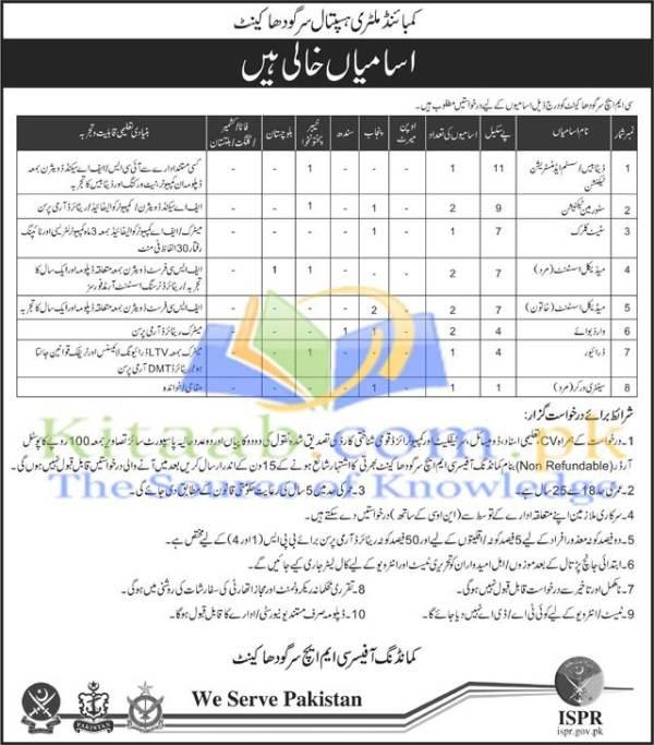 Combined Military Hospital CMH Sargodha Cantt Jobs December 2015 Registration Form Dates Eligibility Criteria