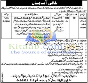 School Education Department Lahore Jobs December 2015-16 Form Test Interview Dates Eligibility