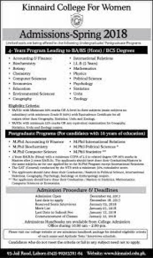 Lahore Kinnaird College KC Admission 2018 Dates and Schedule Form Download Entry Test