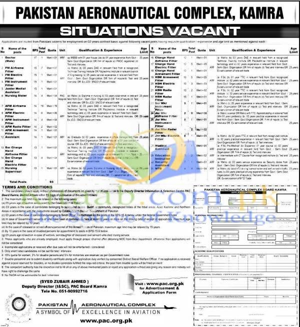Pakistan Aeronautical Complex PAC Kamra Jobs 2015-16 Energy & Power Department KPK Form Eligibility