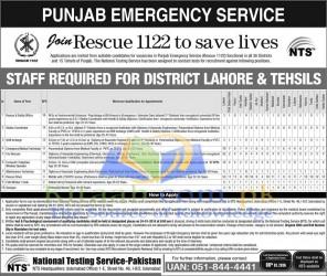 Punjab Rescue 1122 Jobs 2015 2016 NTS Form Download Eligibility Criteria