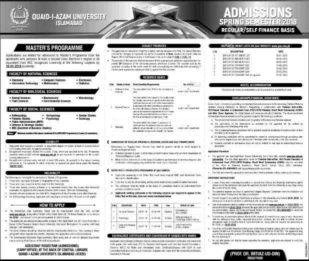 Quaid E Azam University QAU Admission 2018 Application Form Eligibility Criteria