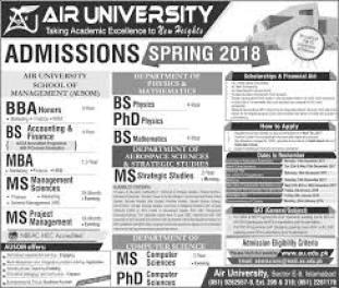 Air University Islamabad Admission 2017 Undergraduate Graduate Postgraduate Form Dates