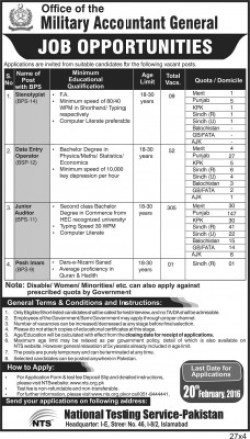 Office of Military Accountant General Pakistan Jobs 2016 Form Download Eligibility Dates