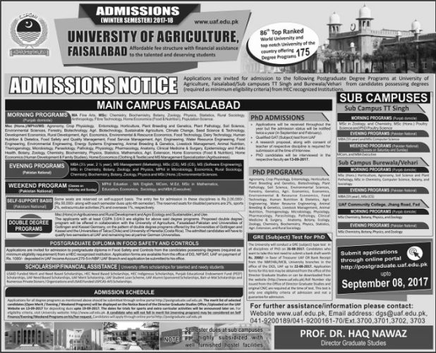 University of Agriculture UAF Faisalabad Admission 2017 Application Form Eligibility Criteria Procedure