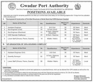 Ministry of Ports and Shipping Gwadar Port Authority Karachi Jobs 2017 Registration Form Download Eligibility Criteria Last Date