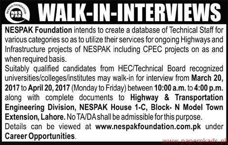 CPEC Projects NESPAK Foundation Jobs 2021 Application Form Submission Last Date Walkin Interviews and Written Test