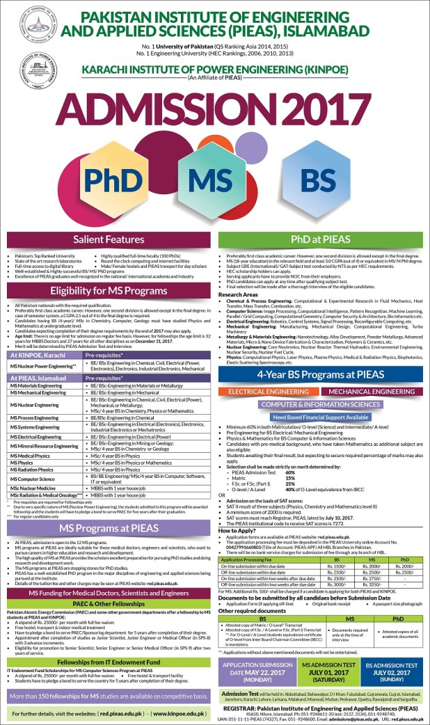 PIEAS Islamabad Fellowships BS MS MSc Admission 2017 in PAEC KINPOE Apply Online Entry Test Date and Schedule