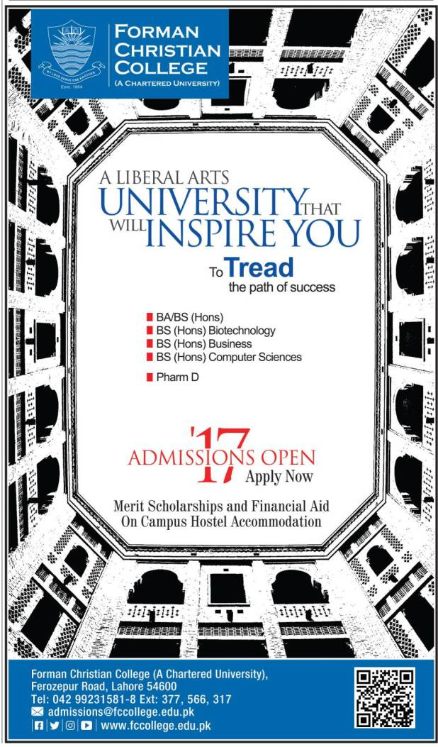 Forman Christian College University Undergraduate Admission 2017 BS Programs Application Form Eligibility Criteria Entry Test Merit List
