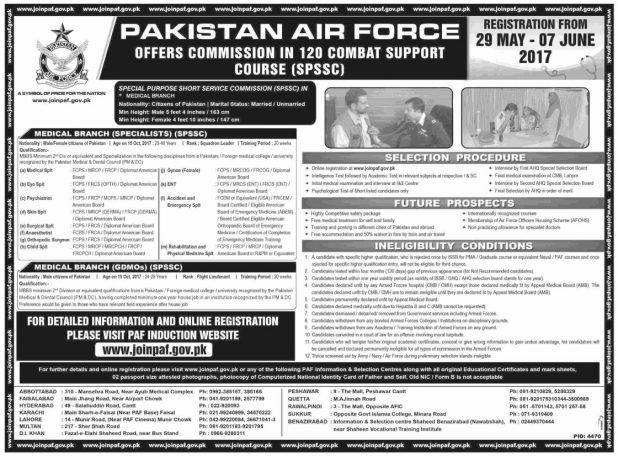 PAF Join Pakistan Air Force As A Offers Commission in 120 Combat Support Course SPSSC Jobs 2017 Eligibility criteria Registration Online