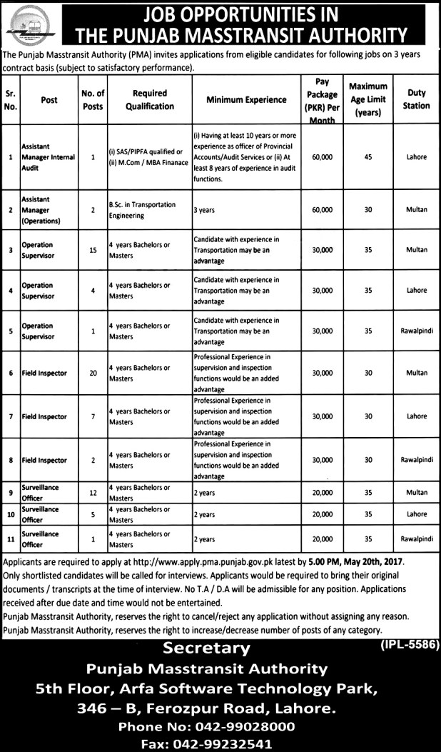 Punjab Masstransit Authority Lahore Jobs 2017 Last Date to Apply Online Form Download Required Qualification and Documentations