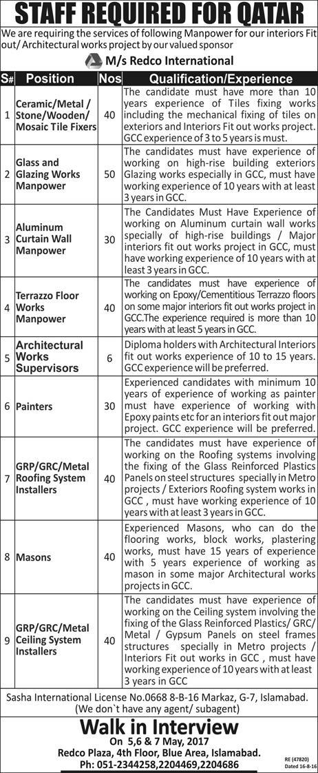 Redco International Qatar Jobs 2017 For Pakistani How to Apply Procedure Qualification and Experience