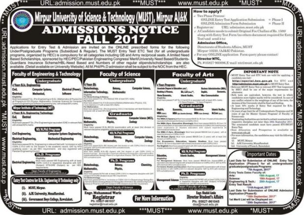Mirpur University of Science and Technology Mirpur Azad Kashmir Admission 2017 in Electrical Mechanical Civil Application Form Procedure to Apply Engineering College in AJK