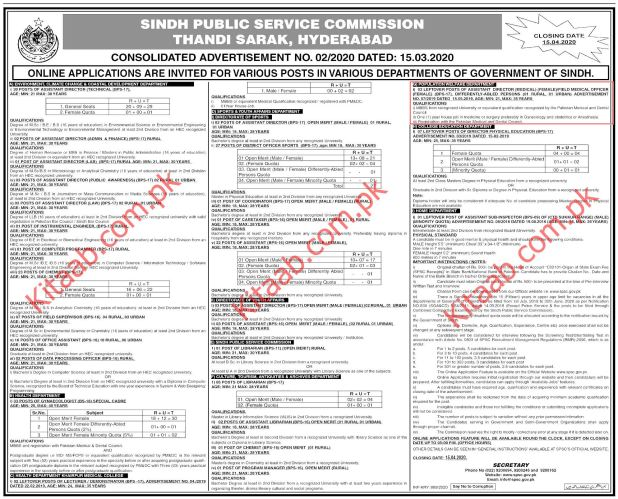 Govt of Sindh Population Welfare Department SPSC Jobs 2020 Online Application Eligibility Criteria