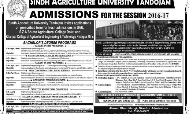 SAU Tandojam Sindh Agriculture University Entry Test Answer Key Result 2017 Merit List Calculator