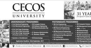 CECOS University Peshawar Admission Open 2017 In Undergraduate & Postgraduate