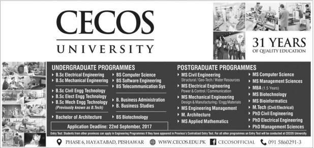CECOS University Peshawar Admission Open 2017 In Undergraduate & Postgraduate