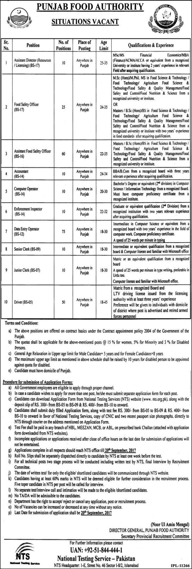 Punjab Food Authority NTS Jobs 2017 Assistant Director Food Safety Officer Accountant Enforcement Officer Download Application Form Fee Deposit Challan