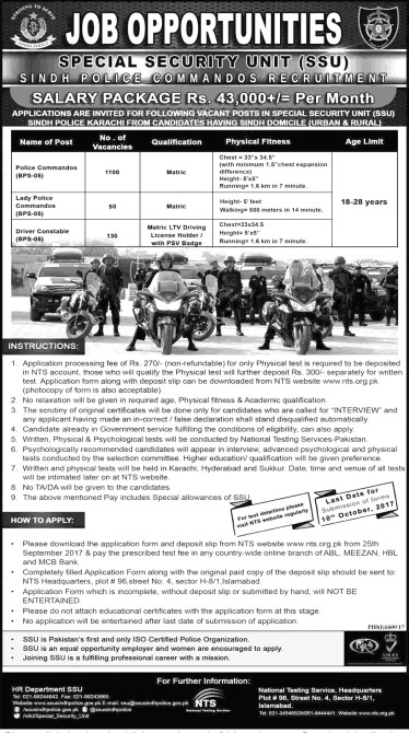 Sindh Special Unit SSU Police Jobs 2019 NTS Test