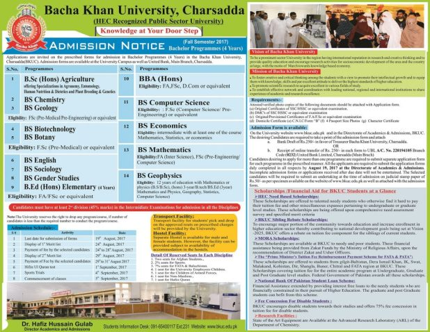 BKUC Bacha Khan University Charsadda Admissions 2017 Entry Test Dates